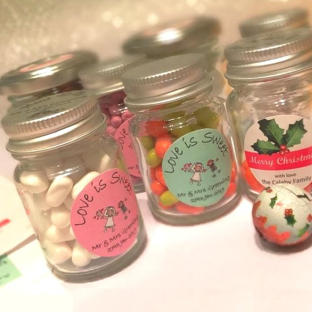 These cute mini jars with silver screw caps are ideal for small sweets or candy.  They are perfect for personalised m&ms and jellybeans!